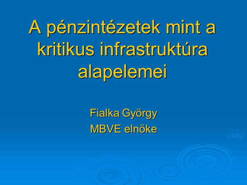 A pénzintézetek mint a kritikus infrastruktúra alapelemei Fialka György MBVE elnöke