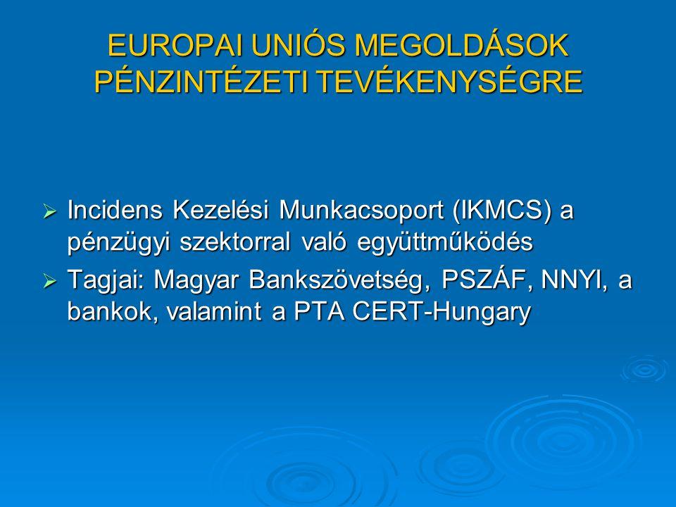 A MAGYAR ÉS EURÓPAI BANKSZÖVETSÉGEKBEN REJLŐ LEHETŐSÉGEK  Hazai-külföldi elkövetési minták, gyakoriságok elemzése, prevenciós egyeztetések, közös prevenciós döntések  ORFK együttműködés, gyors esemény feldolgozás, és adatcsere személyek eszközök tekintetében  Magyarországi és EU-s bankok közötti információcsere a bankszövetségeken keresztül