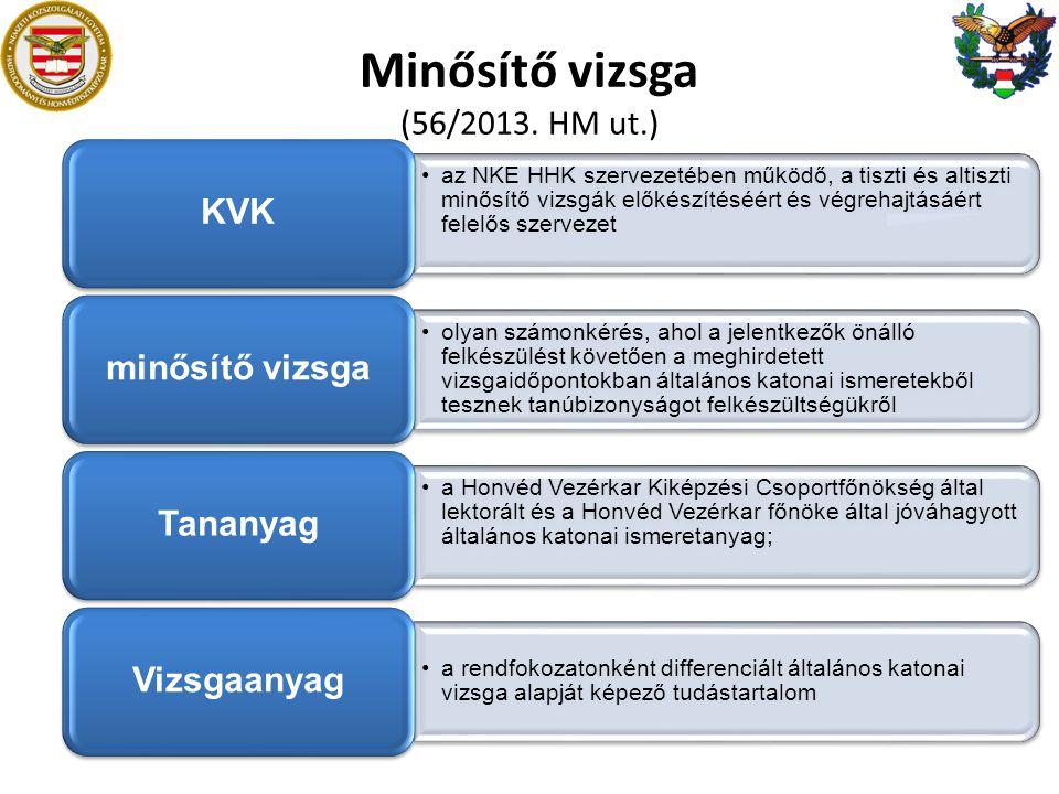 Minősítő vizsga (56/2013. HM ut.) •az NKE HHK szervezetében működő, a tiszti és altiszti minősítő vizsgák előkészítéséért és végrehajtásáért felelős s