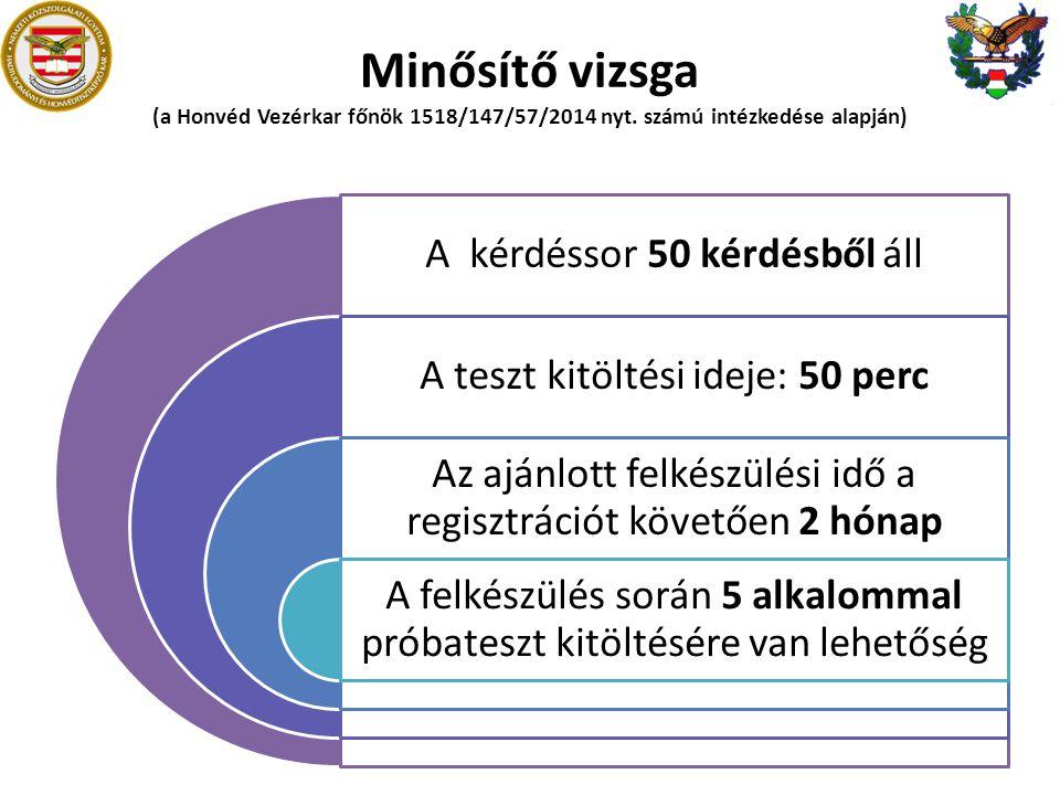 Minősítő vizsga (a Honvéd Vezérkar főnök 1518/147/57/2014 nyt. számú intézkedése alapján) A kérdéssor 50 kérdésből áll A teszt kitöltési ideje: 50 per