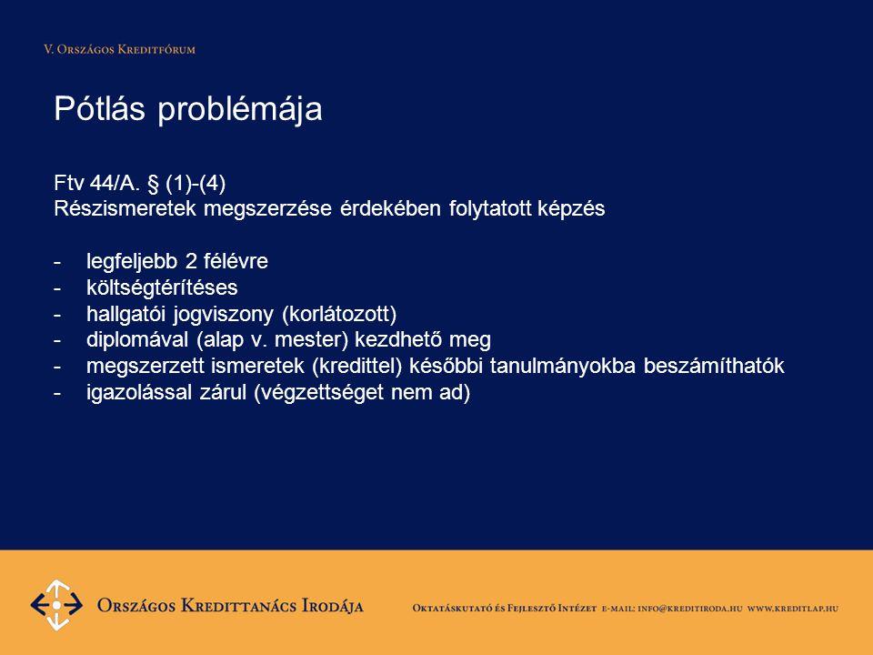 Pótlás problémája Ftv 44/A. § (1)-(4) Részismeretek megszerzése érdekében folytatott képzés -legfeljebb 2 félévre -költségtérítéses -hallgatói jogvisz