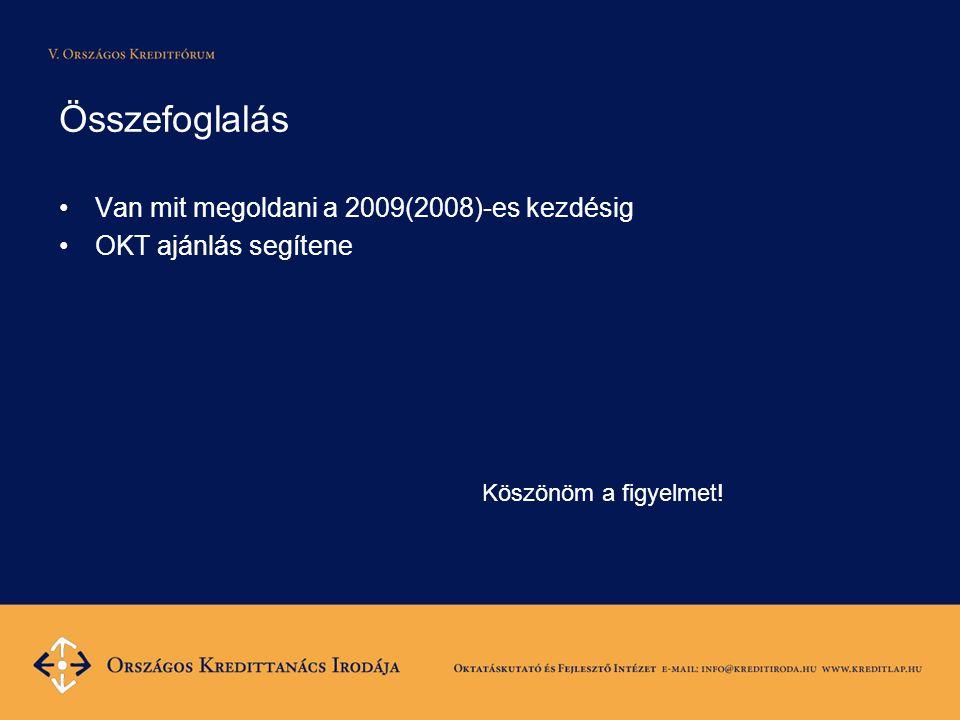 Összefoglalás •Van mit megoldani a 2009(2008)-es kezdésig •OKT ajánlás segítene Köszönöm a figyelmet!