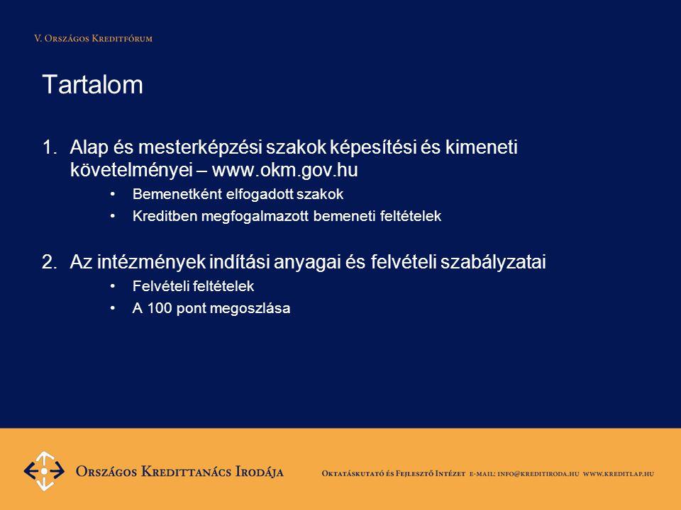 Tartalom 1.Alap és mesterképzési szakok képesítési és kimeneti követelményei – www.okm.gov.hu •Bemenetként elfogadott szakok •Kreditben megfogalmazott