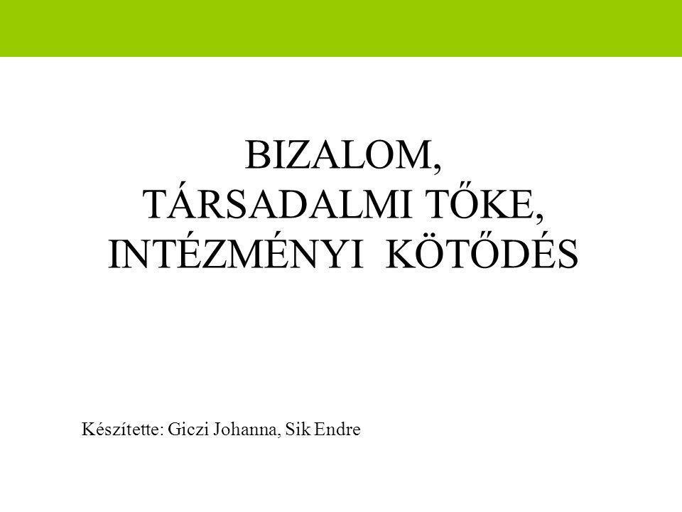 BIZALOM, TÁRSADALMI TŐKE, INTÉZMÉNYI KÖTŐDÉS Készítette: Giczi Johanna, Sik Endre