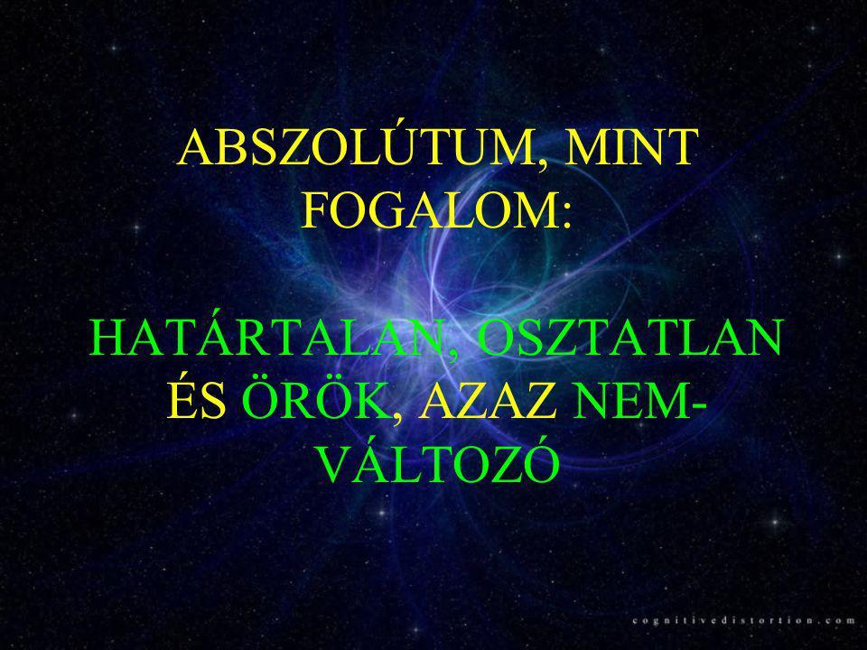 Az Abszolútum, mint fogalom három vetülete •Az Abszolút fogalma az objektív oldalon: matematikai végtelen; fizikai vákuum •Az Abszolút fogalma a szubjektív oldalon: A tudatosság különböző szintjei; védikus tudatállapotok