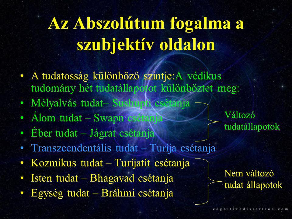 Vjásza Bráhma-szútrájának lényege A rendszeres Átma (turíja) tapasztalat révén egység tudat tapasztalatra szert tett egyén két Abszolútat tapasztal.