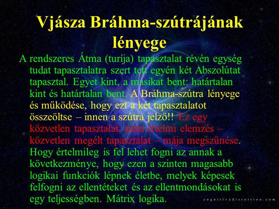 Vjásza Bráhma-szútrájának lényege A rendszeres Átma (turíja) tapasztalat révén egység tudat tapasztalatra szert tett egyén két Abszolútat tapasztal. E