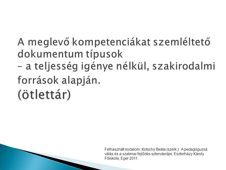 Felhasznált irodalom: Kotschy Beáta (szerk.): A pedagógussá válás és a szakmai fejlődés sztenderdjei, Eszterházy Károly Főiskola, Eger 2011.