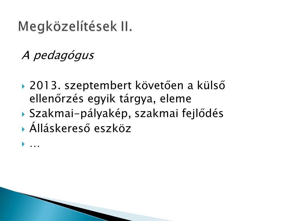 A pedagógus  2013. szeptembert követően a külső ellenőrzés egyik tárgya, eleme  Szakmai-pályakép, szakmai fejlődés  Álláskereső eszköz  …