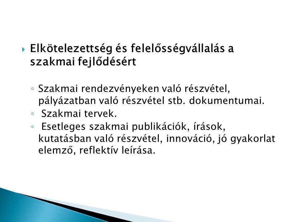  Elkötelezettség és felelősségvállalás a szakmai fejlődésért ◦ Szakmai rendezvényeken való részvétel, pályázatban való részvétel stb. dokumentumai. ◦