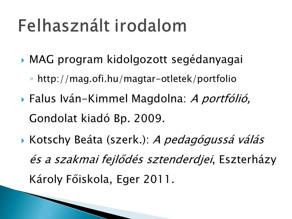  MAG program kidolgozott segédanyagai ◦ http://mag.ofi.hu/magtar-otletek/portfolio  Falus Iván-Kimmel Magdolna: A portfólió, Gondolat kiadó Bp. 2009