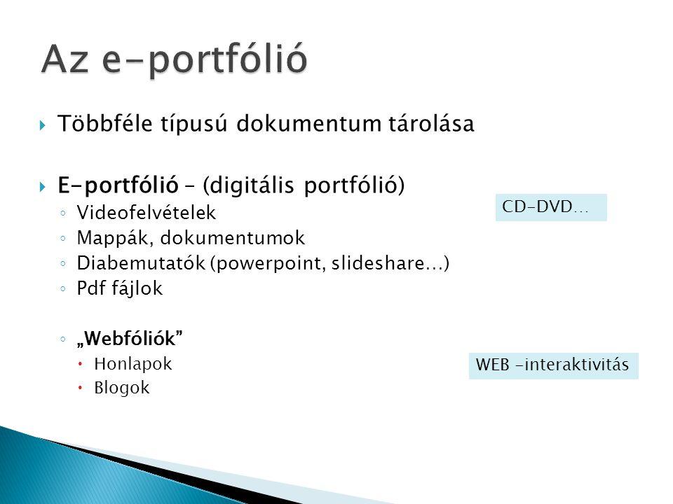  Többféle típusú dokumentum tárolása  E-portfólió – (digitális portfólió) ◦ Videofelvételek ◦ Mappák, dokumentumok ◦ Diabemutatók (powerpoint, slide