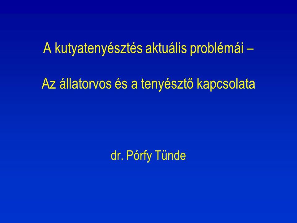 A kutyatenyésztés aktuális problémái – Az állatorvos és a tenyésztő kapcsolata dr. Pórfy Tünde