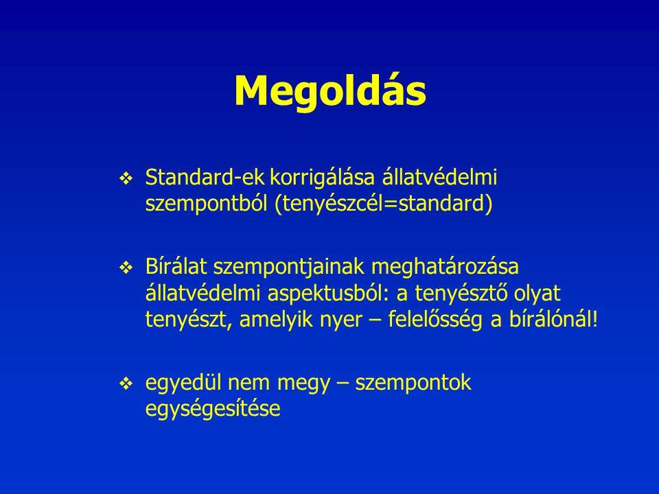 Megoldás  Standard-ek korrigálása állatvédelmi szempontból (tenyészcél=standard)  Bírálat szempontjainak meghatározása állatvédelmi aspektusból: a t