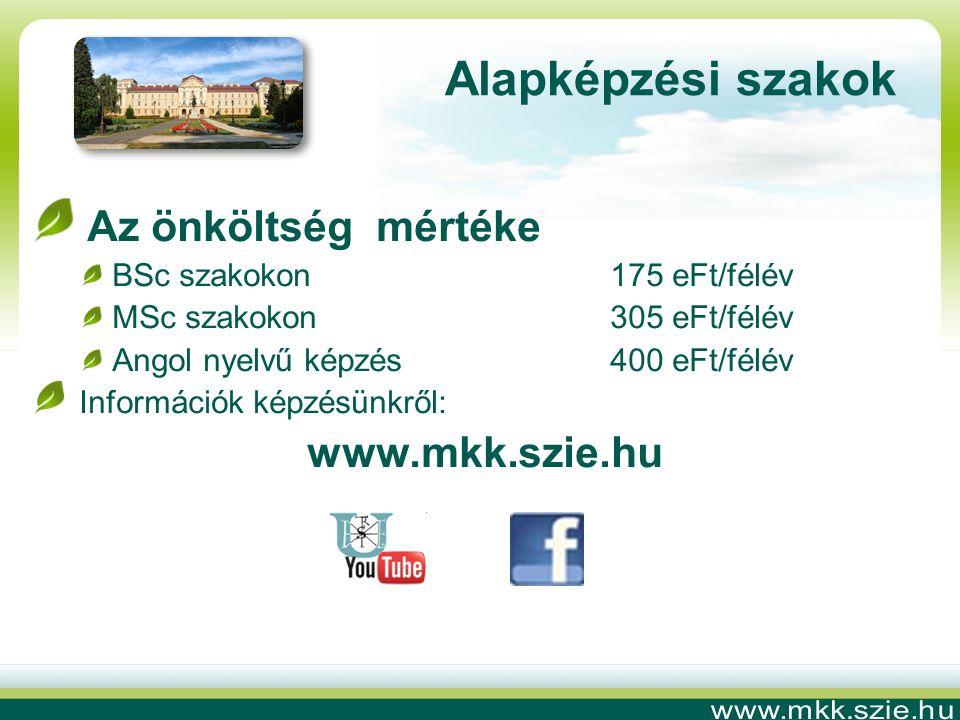 Az önköltség mértéke BSc szakokon 175 eFt/félév MSc szakokon 305 eFt/félév Angol nyelvű képzés400 eFt/félév Információk képzésünkről: www.mkk.szie.hu Alapképzési szakok