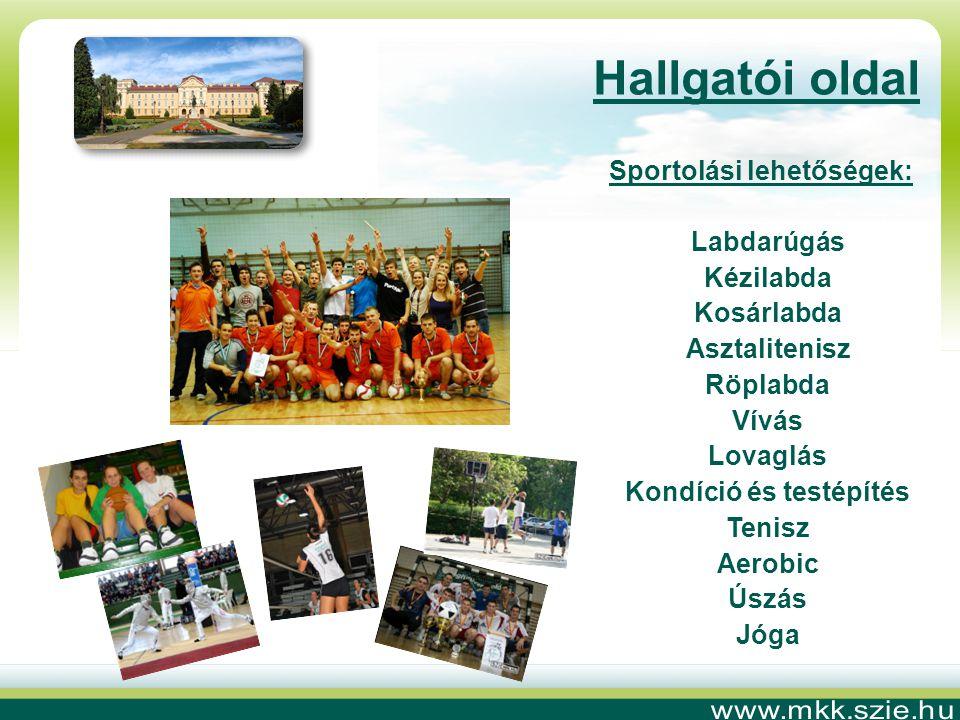 Sportolási lehetőségek: Labdarúgás Kézilabda Kosárlabda Asztalitenisz Röplabda Vívás Lovaglás Kondíció és testépítés Tenisz Aerobic Úszás Jóga Hallgatói oldal