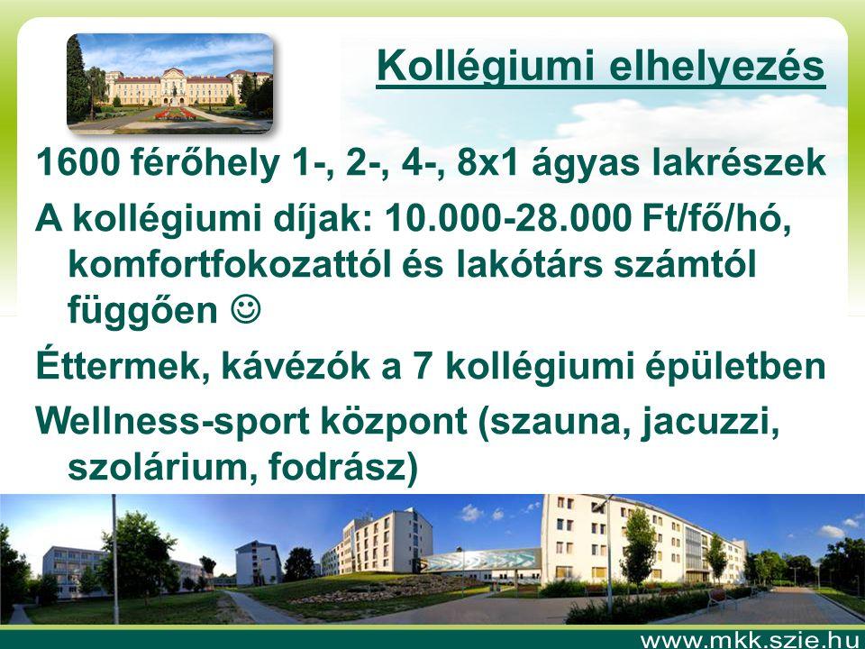 Kollégiumi elhelyezés 1600 férőhely 1-, 2-, 4-, 8x1 ágyas lakrészek A kollégiumi díjak: 10.000-28.000 Ft/fő/hó, komfortfokozattól és lakótárs számtól függően  Éttermek, kávézók a 7 kollégiumi épületben Wellness-sport központ (szauna, jacuzzi, szolárium, fodrász)