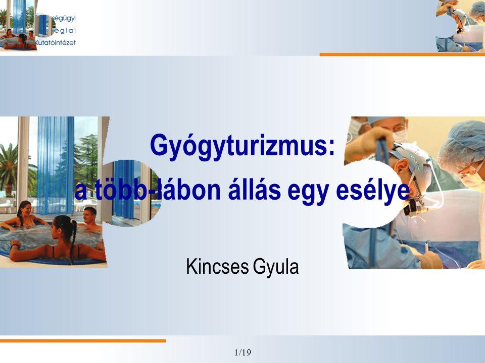 12/19 Teendők •A gyógy/egészségturizmust általában a magyar gazdaság, a fejlesztéspolitika és az ország-image központi prioritásává kell tenni, •a fejlesztésekhez: a stratégia felülvizsgálata, ezen belül a prioritások meghatározása és a fejlesztések koncentrálása érdekében a gyógytérségek kijelölése, • az UMFT forrásfelhasználásában a fenti prioritások érvényesítése, •a terület fejlesztéséhez központi marketinget kell biztosítani, •nemzetközi szinten is értelmezhető minőségbiztosítási és akkreditációs rendszer kialakítása, amely piacra segíti a minőségi szolgáltatásokat és kiszűri a nem megfelelő szakmaiságú vállalkozásokat.