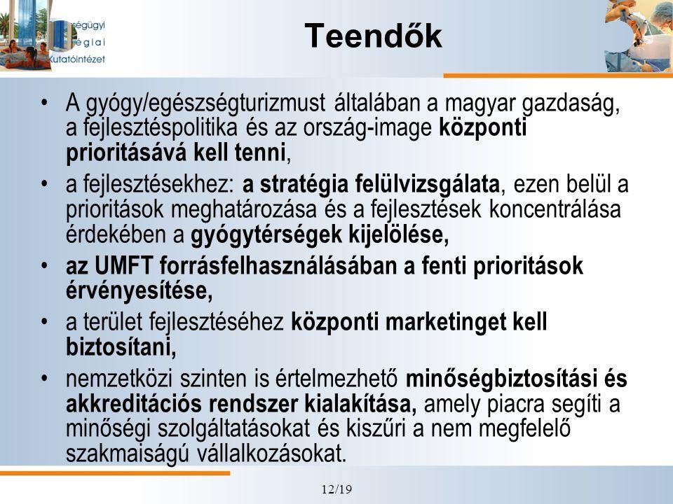 12/19 Teendők •A gyógy/egészségturizmust általában a magyar gazdaság, a fejlesztéspolitika és az ország-image központi prioritásává kell tenni, •a fej