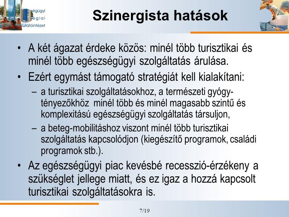 7/19 Szinergista hatások •A két ágazat érdeke közös: minél több turisztikai és minél több egészségügyi szolgáltatás árulása. •Ezért egymást támogató s