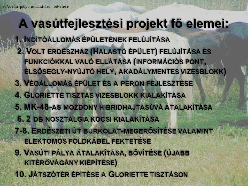 A vasútfejlesztési projekt fő elemei: 1. I NDÍTÓÁLLOMÁS ÉPÜLETÉNEK FELÚJÍTÁSA 2. V OLT ERDÉSZHÁZ (H ALASTÓ ÉPÜLET ) FELÚJÍTÁSA ÉS FUNKCIÓKKAL VALÓ ELL