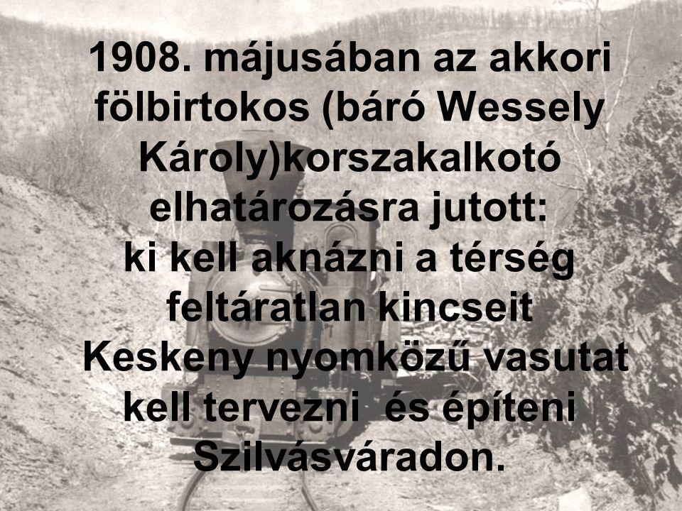 1908. májusában az akkori fölbirtokos (báró Wessely Károly)korszakalkotó elhatározásra jutott: ki kell aknázni a térség feltáratlan kincseit Keskeny n