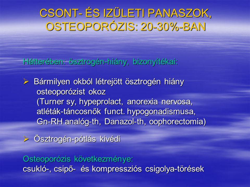 CSONT- ÉS IZÜLETI PANASZOK, OSTEOPORÓZIS: 20-30%-BAN Hátterében: ösztrogén-hiány, bizonyítékai:  Bármilyen okból létrejött ösztrogén hiány osteoporóz