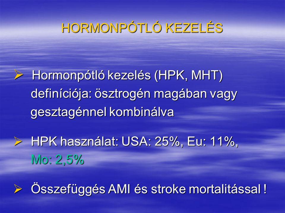 HORMONPÓTLÓ KEZELÉS  Hormonpótló kezelés (HPK, MHT) definíciója: ösztrogén magában vagy definíciója: ösztrogén magában vagy gesztagénnel kombinálva g