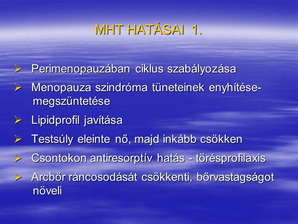 MHT HATÁSAI 1.  Perimenopauzában ciklus szabályozása  Menopauza szindróma tüneteinek enyhítése- megszüntetése megszüntetése  Lipidprofil javítása 