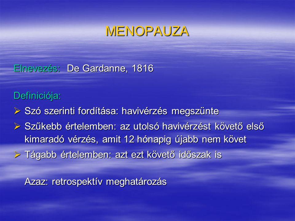 MENOPAUZA Elnevezés: De Gardanne, 1816 Definiciója:  Szó szerinti fordítása: havivérzés megszünte  Szűkebb értelemben: az utolsó havivérzést követő