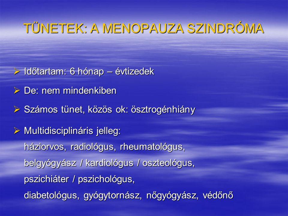 TÜNETEK: A MENOPAUZA SZINDRÓMA  Időtartam: 6 hónap – évtizedek  De: nem mindenkiben  Számos tünet, közös ok: ösztrogénhiány  Multidisciplináris je