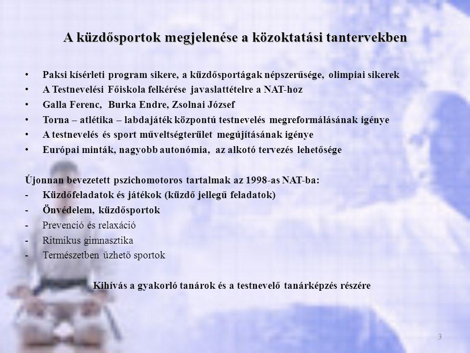 4 A küzdősportok iskolai oktatásával kapcsolatosan felmerülő gyakorlati kérdések •Nemzeti Alaptantervek 1998- 2012 / Kerettantervek 2001-2013 előírásai •A küzdősport gyűjtőfogalom használatából adódó problémák •Egységes alapműveltség és átjárhatóság biztosítása •2005 óta választható érettségi tárgy a testnevelés •Közép szinten választható a küzdősport úszás helyett és fordítva •Emelt szinten mindkettő kötelező A TANTERVBEN NÉV SZERINT MEGJELENŐ SPORTÁGAK, TESTGYAKORLATI ÁGAK: •Küzdőjátékok és feladatok, birkózás / grundbirkózás, judo, önvédelem, aikido •Tantervi előírások pontatlansága, önvédelem és aikido összemosása, nembeli különbségtétel (NAT, 2003), lányok kirekesztése •Európai tantervek tendenciái: küzdőjátékok és feladatok, judo, birkózás •Ütéssel, rúgással járó küzdősportágak nem preferáltak 4