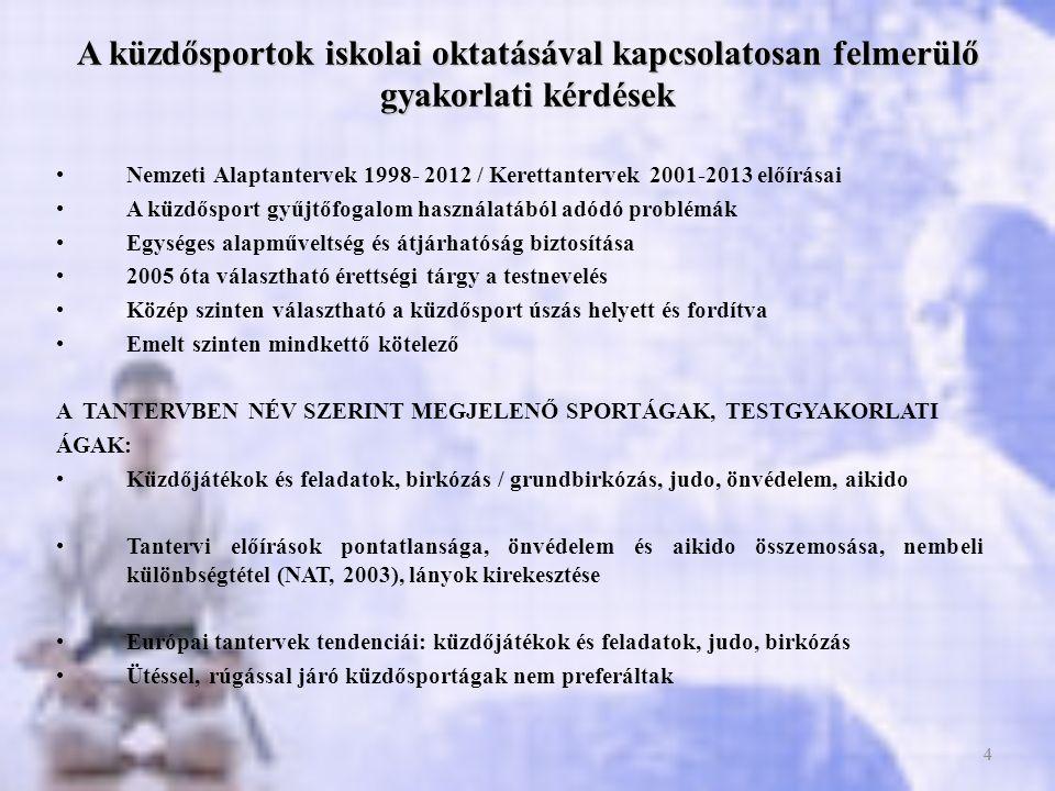 5 Kerettantervek (2012) ajánlott óraszámai a témakörre a Testnevelés és Sport műveltségterületen belül ÉvfolyamÓraszámÉvfolyamra bontva óraszám / tanév 1-2.157/8 3-4.147 5-6.3819 7-8.4623 9-10.3015 11-12.2010 1.táblázat: Ajánlott óraszámok önvédelmi és küzdőfeladatok témakörre Forrás: Kerettantervek 2012 alapján http://www.ofi.hu/kerettanterv-2012