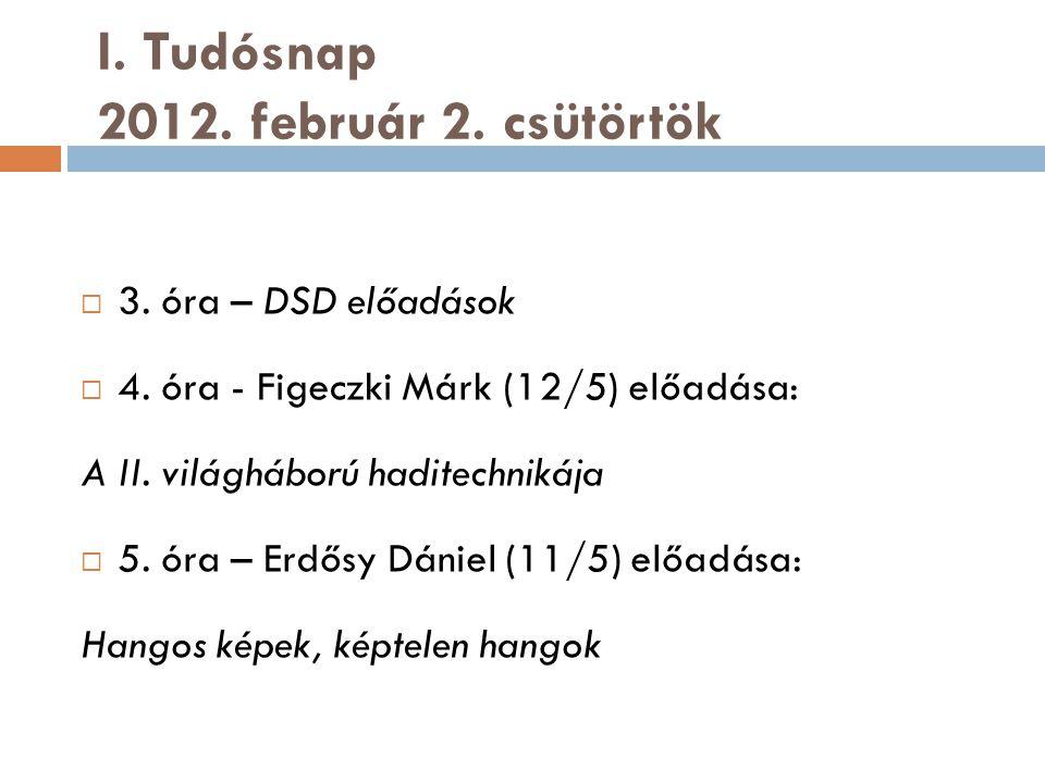 I. Tudósnap 2012. február 2. csütörtök  3. óra – DSD előadások  4.