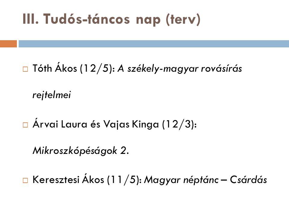 III. Tudós-táncos nap (terv)  Tóth Ákos (12/5): A székely-magyar rovásírás rejtelmei  Árvai Laura és Vajas Kinga (12/3): Mikroszkópéságok 2.  Keres