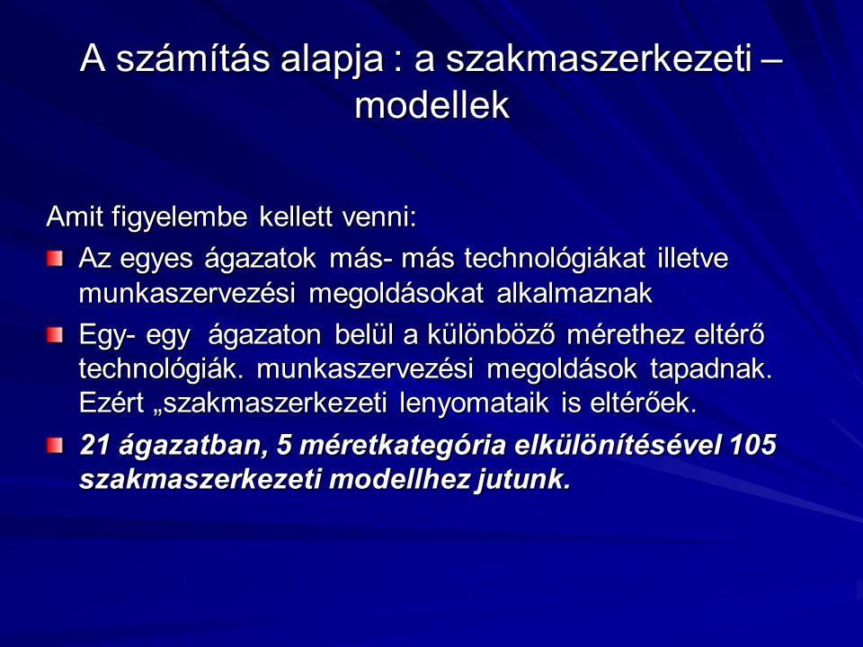 A számítás alapja : a szakmaszerkezeti – modellek Amit figyelembe kellett venni: Az egyes ágazatok más- más technológiákat illetve munkaszervezési meg
