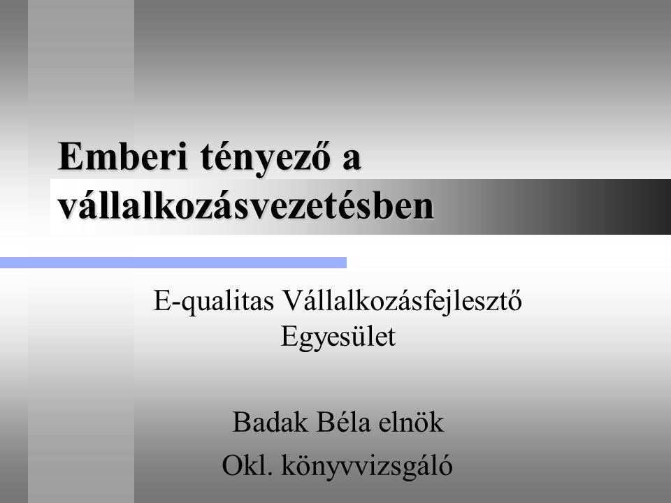 Emberi tényező a vállalkozásvezetésben E-qualitas Vállalkozásfejlesztő Egyesület Badak Béla elnök Okl. könyvvizsgáló