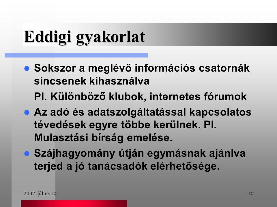 2007. július 10.10 Eddigi gyakorlat  Sokszor a meglévő információs csatornák sincsenek kihasználva Pl. Különböző klubok, internetes fórumok  Az adó