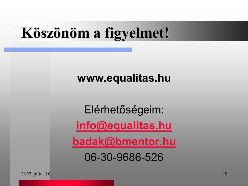 2007. július 10.15 Köszönöm a figyelmet! www.equalitas.hu Elérhetőségeim: info@equalitas.hu badak@bmentor.hu 06-30-9686-526