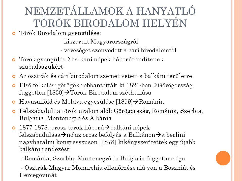 NEMZETÁLLAMOK A HANYATLÓ TÖRÖK BIRODALOM HELYÉN Török Birodalom gyengülése: - kiszorult Magyarországról - vereséget szenvedett a cári birodalomtól Tör