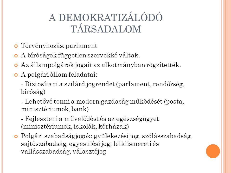 A DEMOKRATIZÁLÓDÓ TÁRSADALOM Törvényhozás: parlament A bíróságok független szervekké váltak. Az állampolgárok jogait az alkotmányban rögzítették. A po