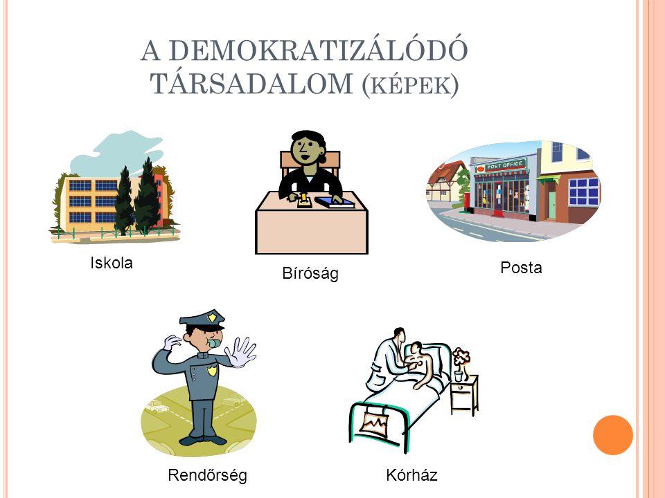A DEMOKRATIZÁLÓDÓ TÁRSADALOM ( KÉPEK ) Iskola Bíróság Posta RendőrségKórház