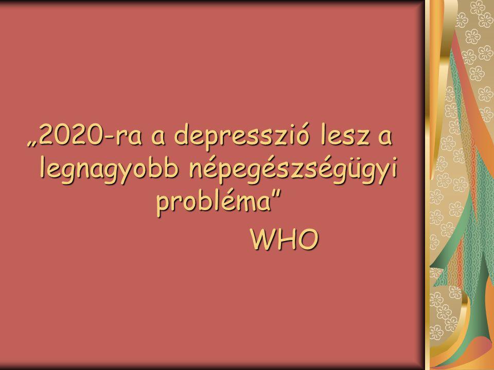 A depressziós tünetek előfordulása életkor szerint 5,3315,120-49 10,14,723,8> 70 8,25,522,760 - 69 11,7102150 - 59 --10 < 20 súlyos depresszió közepes depresszió enyhe depresszió életkor