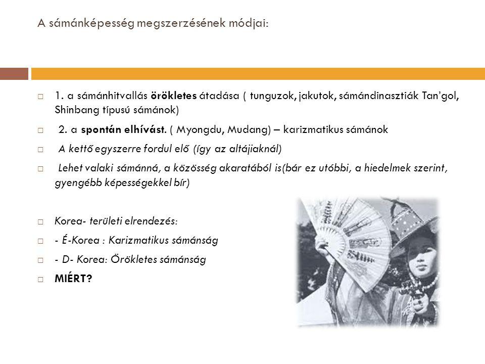 A sámánképesség megszerzésének módjai:  1. a sámánhitvallás örökletes átadása ( tunguzok, jakutok, sámándinasztiák Tan'gol, Shinbang típusú sámánok)