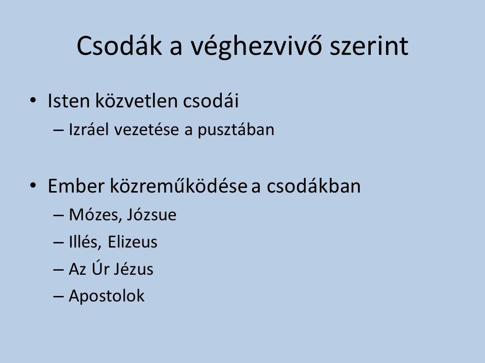 Csodák a véghezvivő szerint • Isten közvetlen csodái – Izráel vezetése a pusztában • Ember közreműködése a csodákban – Mózes, Józsue – Illés, Elizeus
