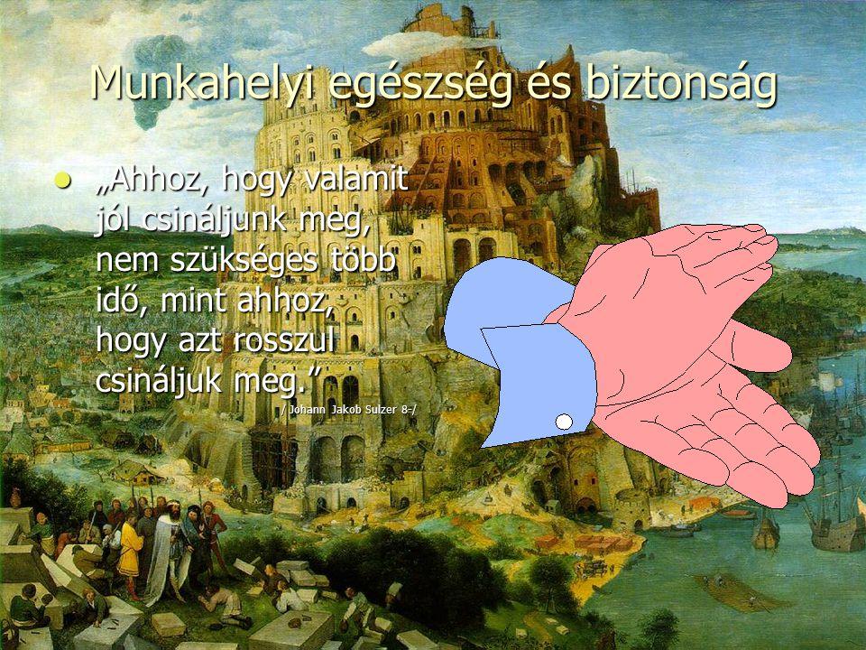 """Munkahelyi egészség és biztonság  """"Ahhoz, hogy valamit jól csináljunk meg, nem szükséges több idő, mint ahhoz, hogy azt rosszul csináljuk meg. / Johann Jakob Sulzer 8-/"""