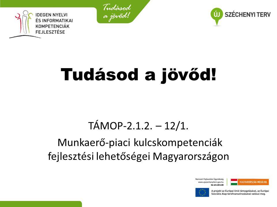 Tudásod a jövőd! TÁMOP-2.1.2. – 12/1. Munkaerő‐piaci kulcskompetenciák fejlesztési lehetőségei Magyarországon