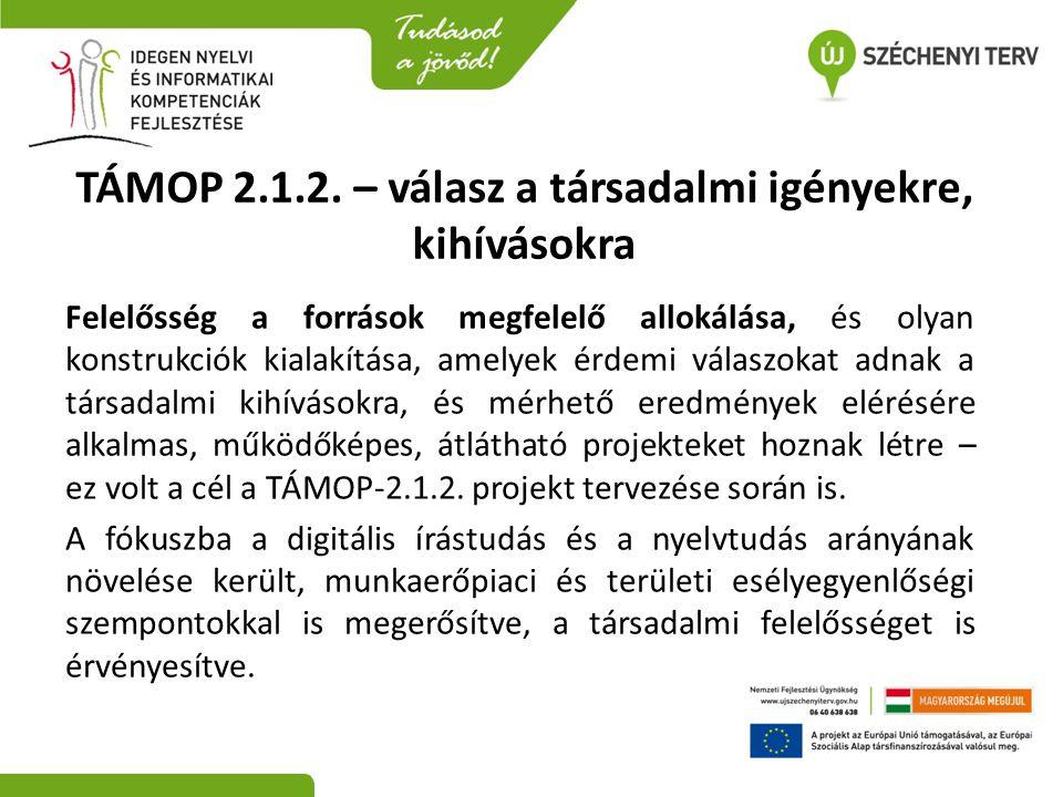 TÁMOP 2.1.2. – válasz a társadalmi igényekre, kihívásokra Felelősség a források megfelelő allokálása, és olyan konstrukciók kialakítása, amelyek érdem