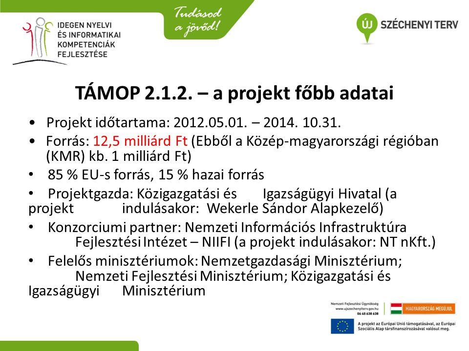 TÁMOP 2.1.2. – a projekt főbb adatai • Projekt időtartama: 2012.05.01. – 2014. 10.31. •Forrás: 12,5 milliárd Ft (Ebből a Közép-magyarországi régióban