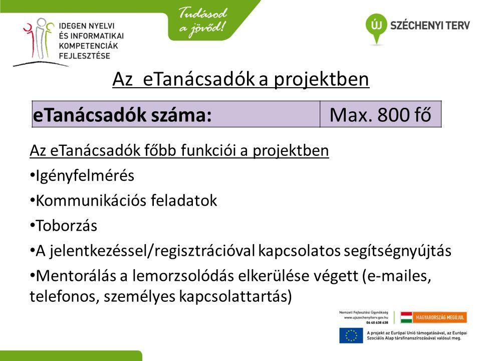 Az eTanácsadók a projektben Az eTanácsadók főbb funkciói a projektben • Igényfelmérés • Kommunikációs feladatok • Toborzás • A jelentkezéssel/regisztr